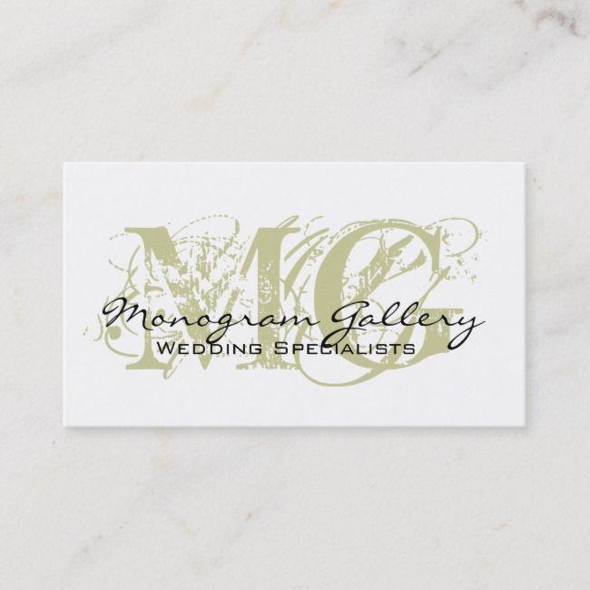 Sage Black Monogram Customizable Business Card Zazzle Com Customizable Business Cards Fashion Business Cards Salon Business Cards