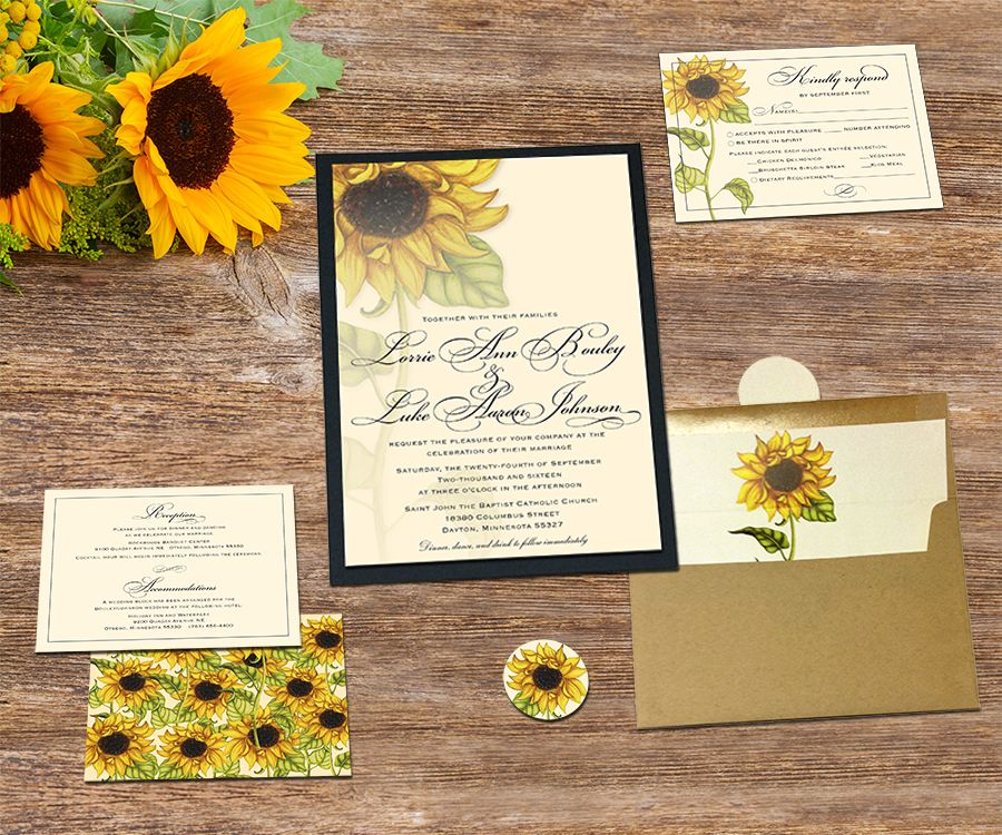 sunflower wedding invitations printable%0A Sunflower wedding invitation collection at Invite Cafe