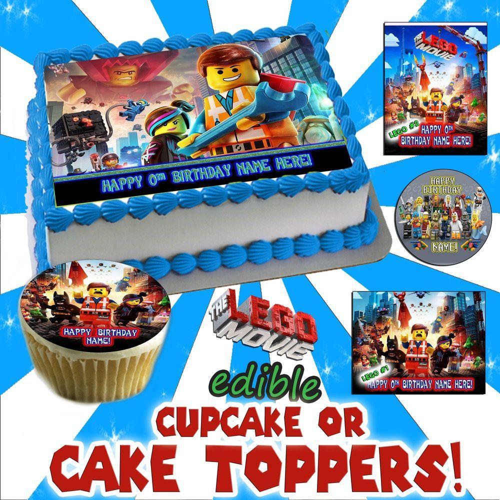 The Lego Movie Birthday Cake topper Edible image sugar cupcake decal