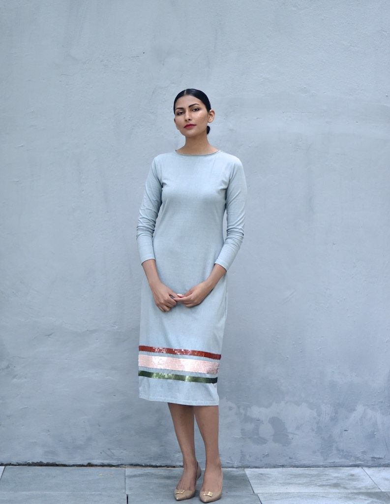 SINGAPORE, LONG SHIFT DRESS IN ORGANIC JERSEY FABRIC WITH
