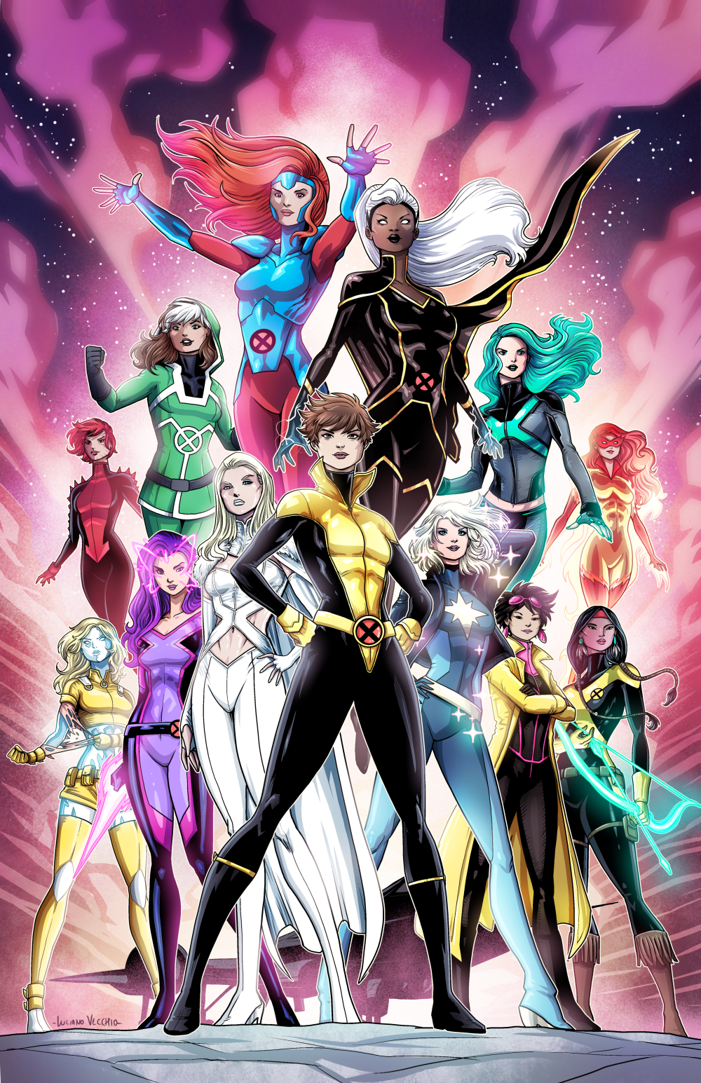 Luciano Vecchio X Men A Second Commission With The Rest Of The Marvel Heroines Marvel Women Marvel Girls