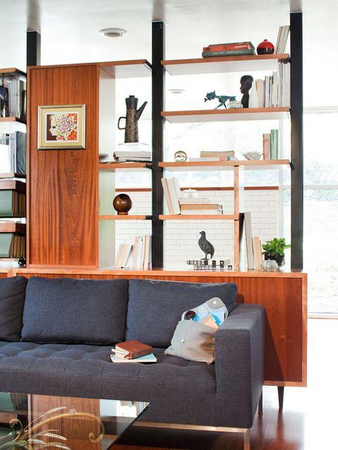 Toby Samy S Mid Century Makeover House Tour Modern Room Divider Mid Century Modern Room Dividers Bookshelf Room Divider