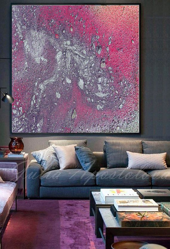 Modern Large Wall Art Galaxy By Juliaapostolova On Etsy Pink Purple And Silver Wallart Canvas