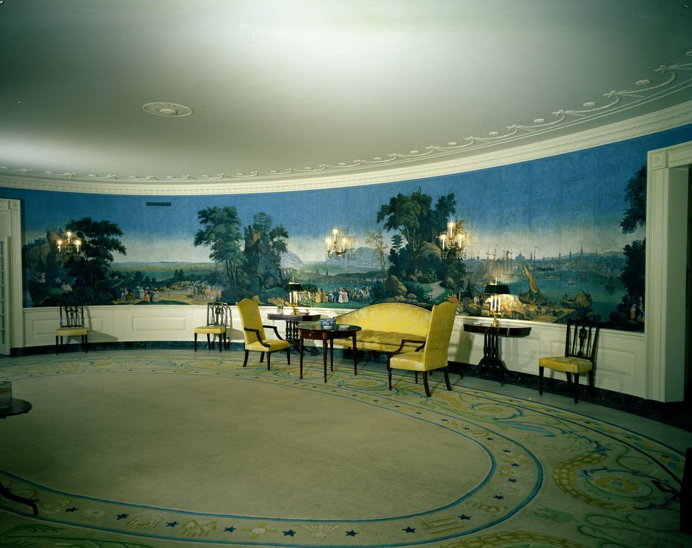 Diplomatic reception room showing antique wallpaper acquired by jackie
