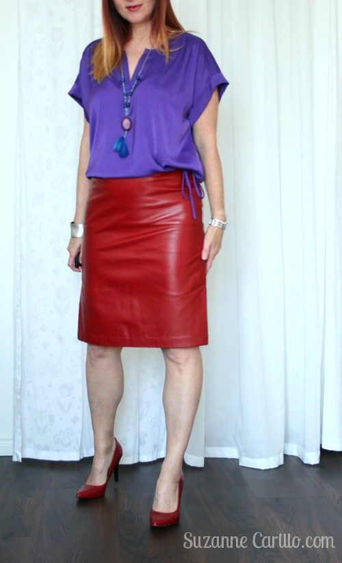 How to dress in red leather over 40 How to wear red and purple over 40. Over 40 fashion for the stylish woman.