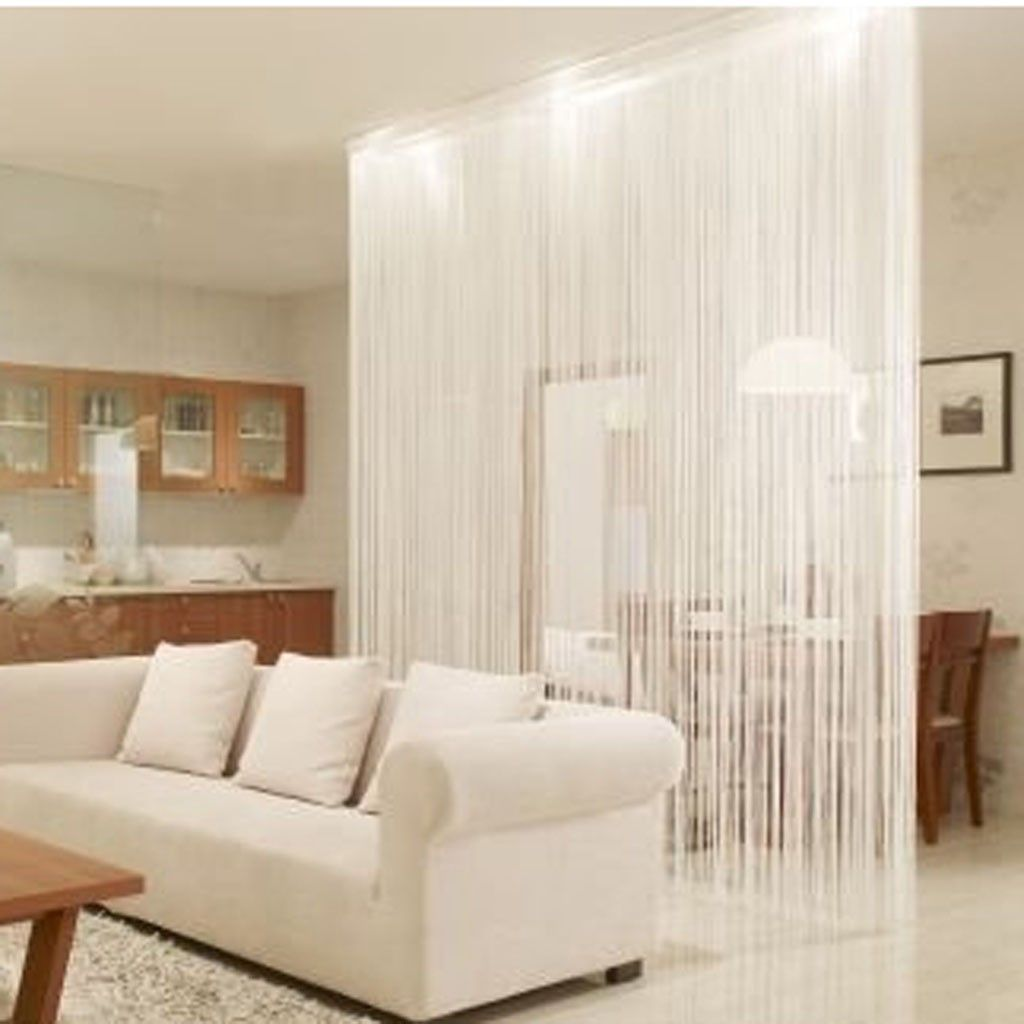 String curtain ideas - White String Curtain Panel