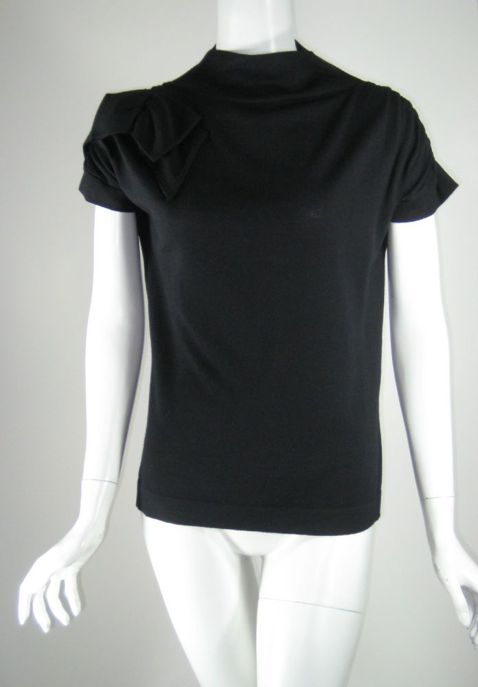 PIAZZA SEMPIONE Black Short Sleeve Cashmere Wool Sweater Blouse Size 46 #PIazzaSempione #Blouse