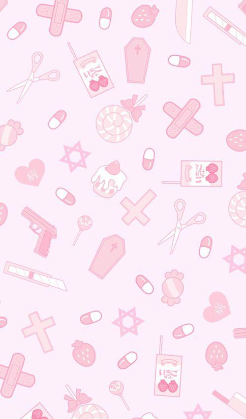 Kawaii Pastel Pink Background : kawaii, pastel, background, Http://weheartit.com/entry/258097483, Kawaii, Wallpaper,, Background,, Patterns, Wallpaper