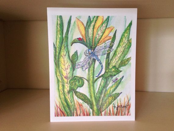 Water Color Print Note Card Dragonfly By NormaJeansArtGallery 399