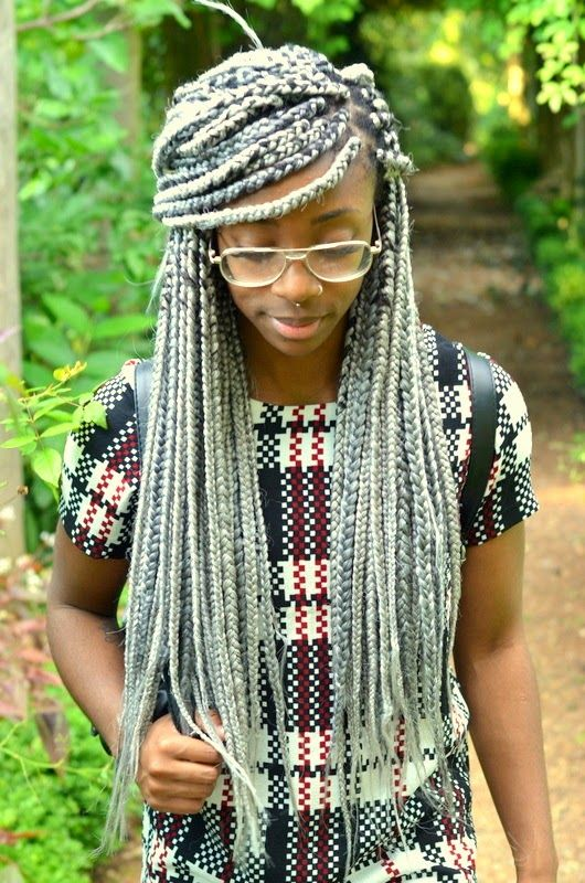silver grey box braids hair styles
