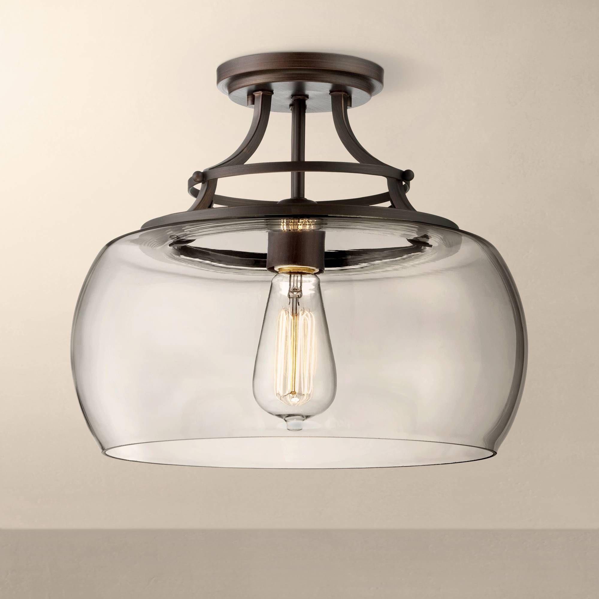 Hallway flush mount lighting  Charleston Bronze