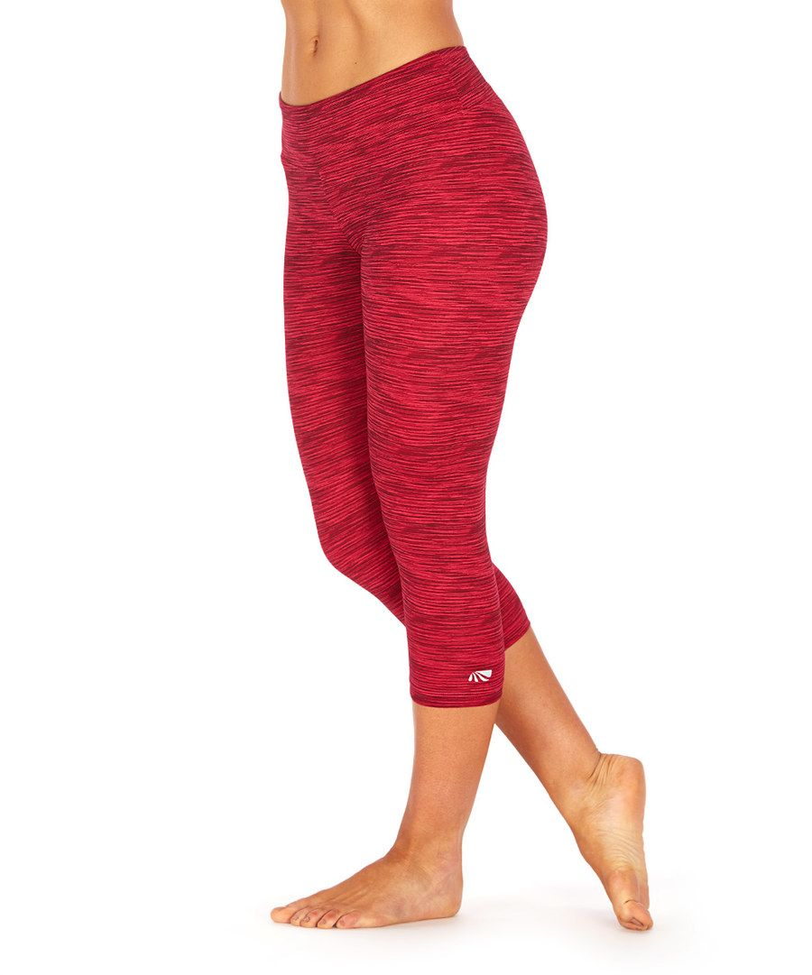 5782836c794bf9 Look at this Marika Tek Red Heather Space Race Capri Leggings on #zulily  today!