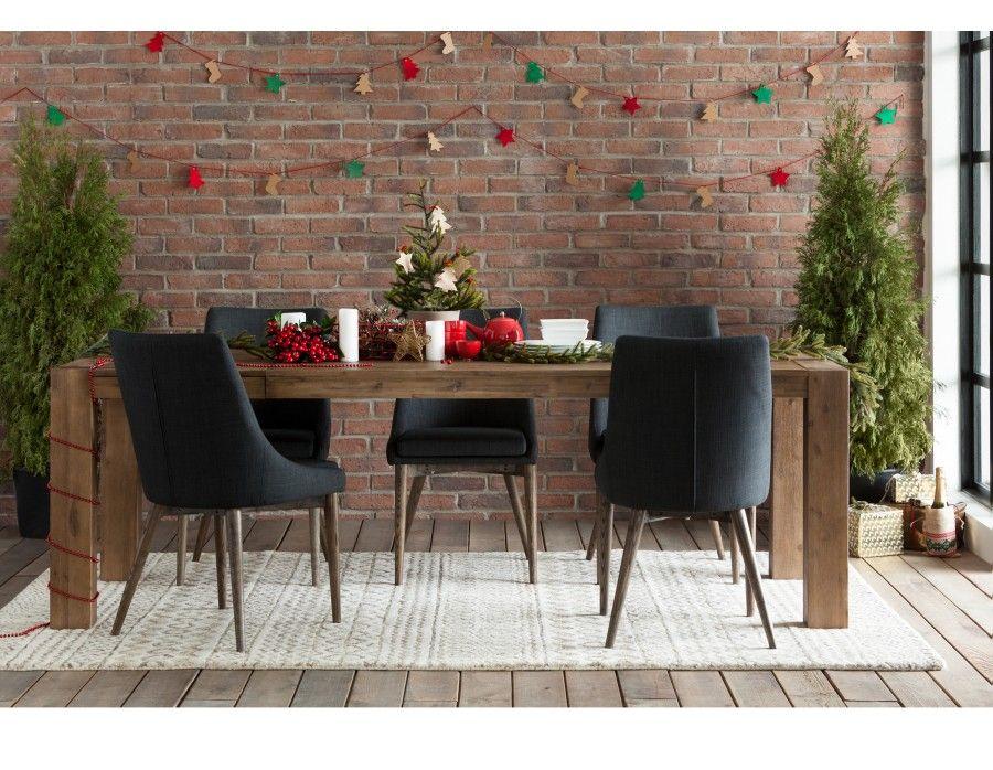 Hamburg table rallonge en bois d 39 acacia massif gris - Table massif rallonge ...