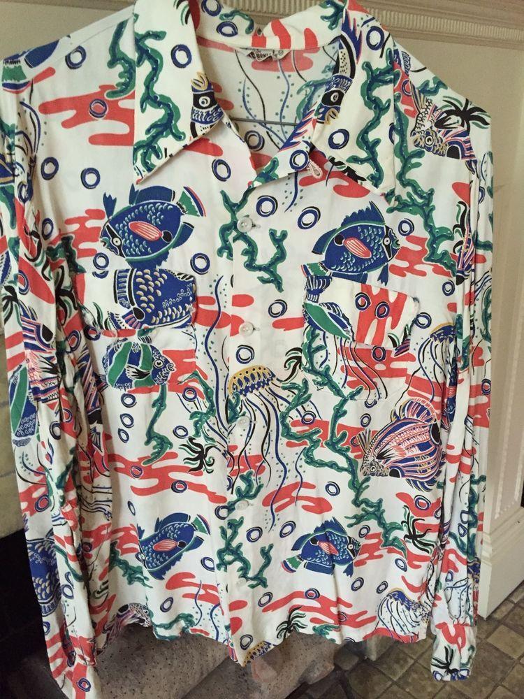 b2d66a50 Vintage 1940s Long Sleeved Hawaiian Shirt