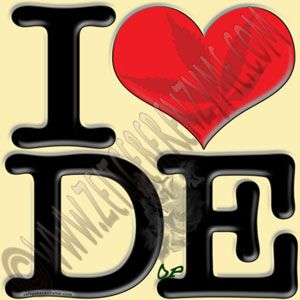 "Help make Delaware greener. Up close ""I [heart] DE"" actually reads ""I love DopE"". http://www.cafepress.com/thenaughtynook/10025493"
