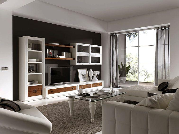 Salon penelope lacado en blanco material madera de haya for Mueble salon lacado blanco