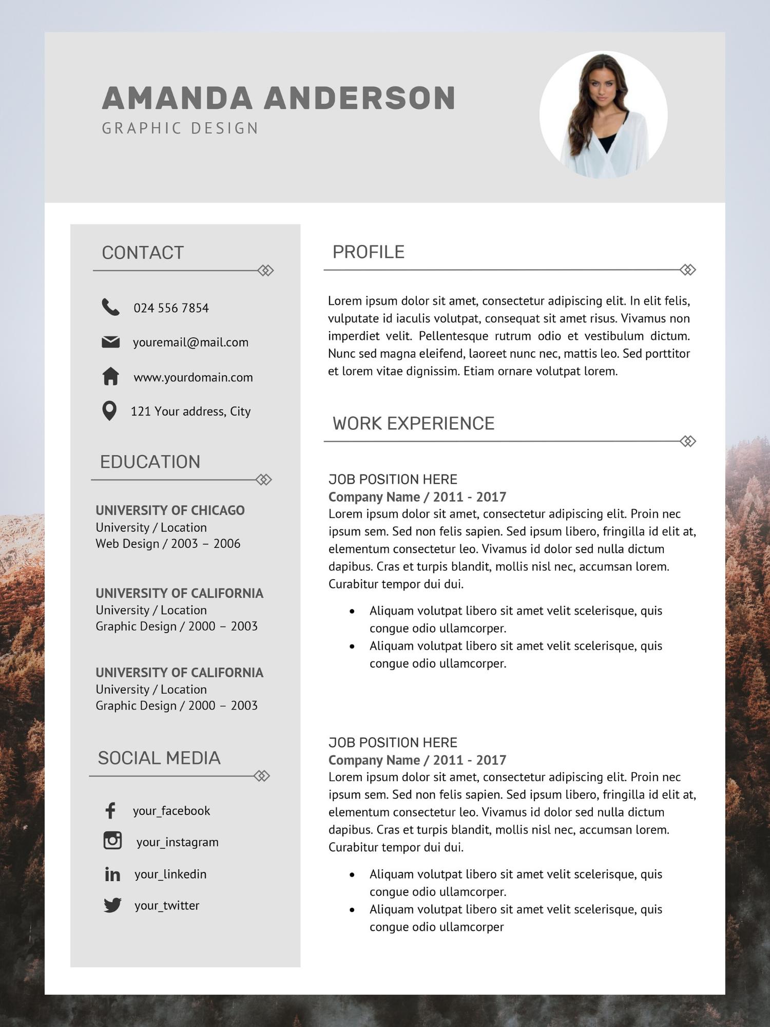 Resume CV Template + Cover Letter in 2020 Cv template