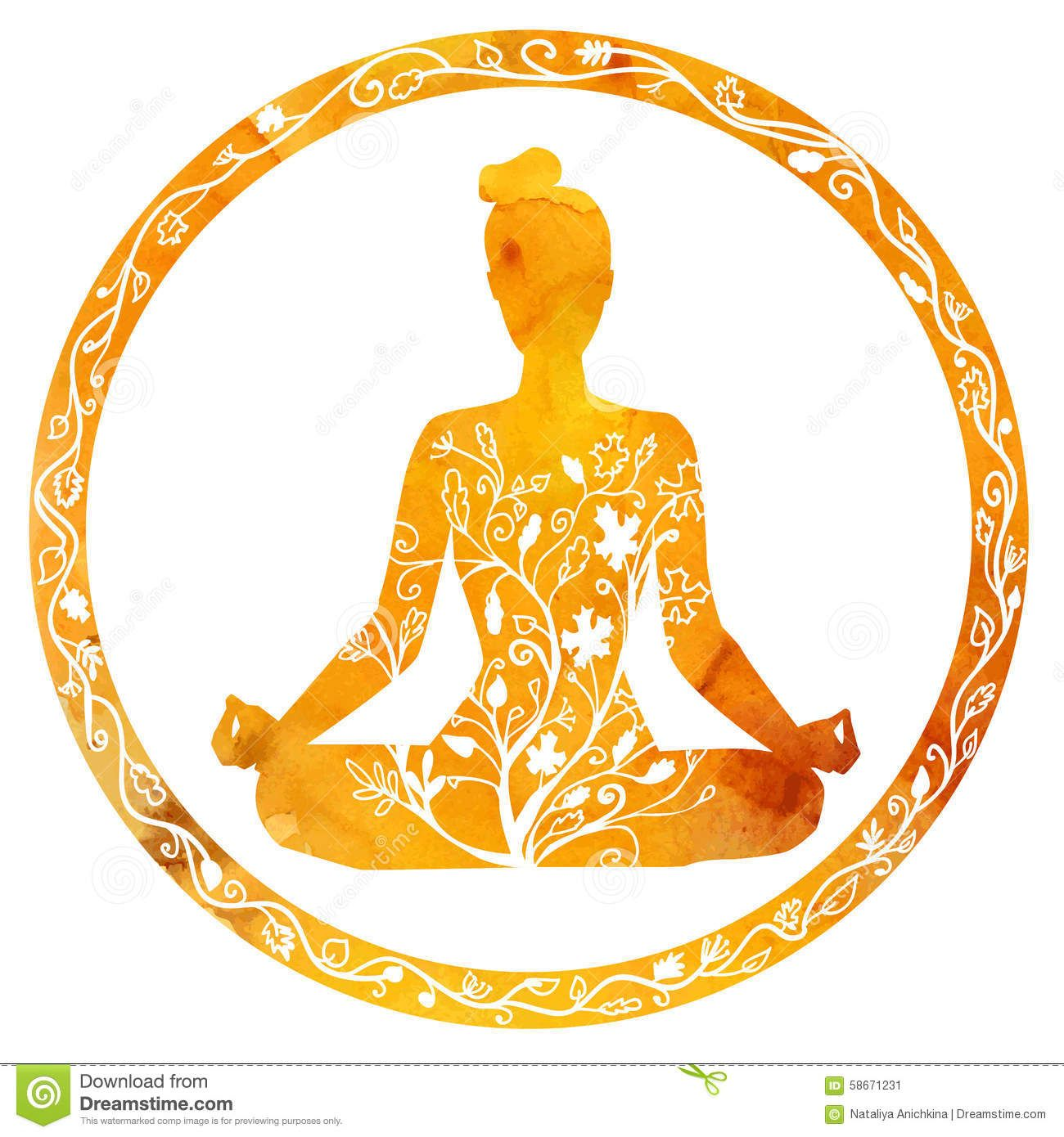 Female Silhouette In Yoga Lotus Pose