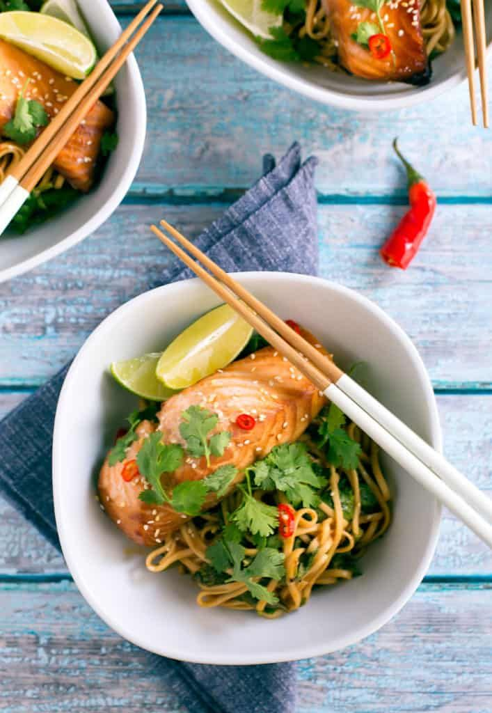 a year round favorite: miso-marinated salmon noodle bowls! quick, flavorful, healthy, and delicious served hot or cold! #wellseasoned #noodlebowl #healthy #asian #pescetarian #photography #foodphotography #noodlebowlphotography #styling #foodstyling #cilantro #asiansalmon #asiannoodles #noodlebowls #udon #ramen #ricenoodles #spicysalmon #spicynoodles #easyentertaining #marinatedsalmon #salmonphotography #fishphotography