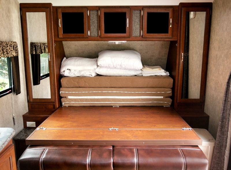 Murphy Bed In Trailer With Bed Platform Down Over The Flat