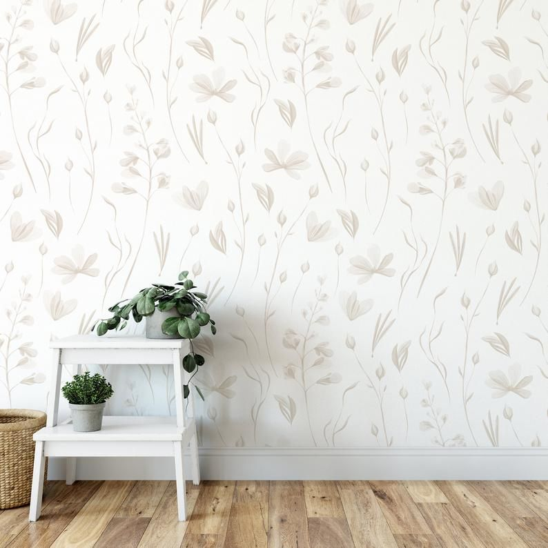 Warm Grey Floral Wallpaper Peel And Stick Wallpaper Removable Accent Wall Multiple Color Options Available Grey Floral Wallpaper Floral Wallpaper Peel And Stick Wallpaper