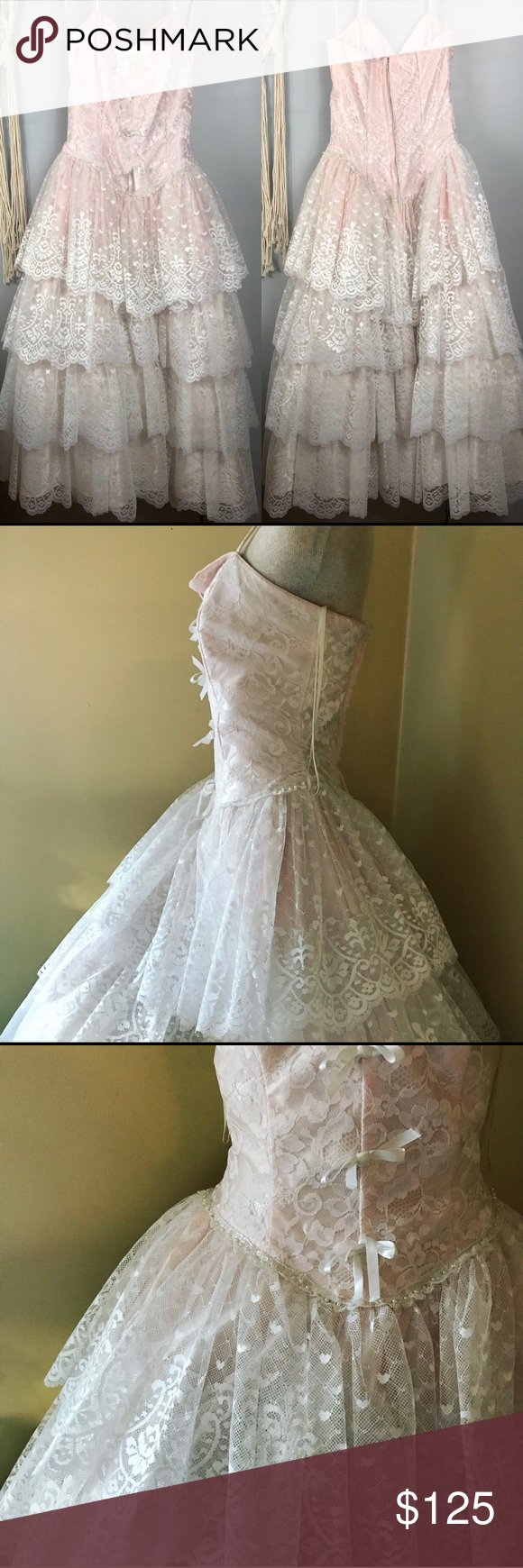 Vintage us alfred angelo prom dress lace beaded my posh picks
