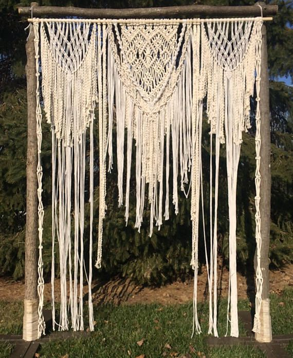 Magical Wedding Backdrop Ideas: Wedding Macrame Backdrop / Macrame Wedding Arch