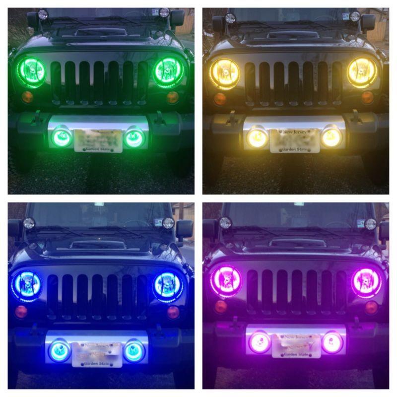 2007 2014 Kc Jeep Wrangler Jk Fog Lights Housings With Rgb Custom Halo Installed Jeep Wrangler Jeep Wrangler Jk Jeep Lights