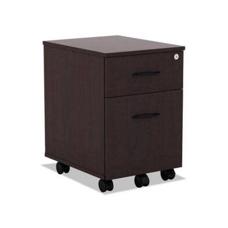 Alera Valencia Series Mobile Box/File Pedestal, 14 3/4 inchW x 19 1/8 inchD x 22 7/8 inchH, Mahogany, Brown