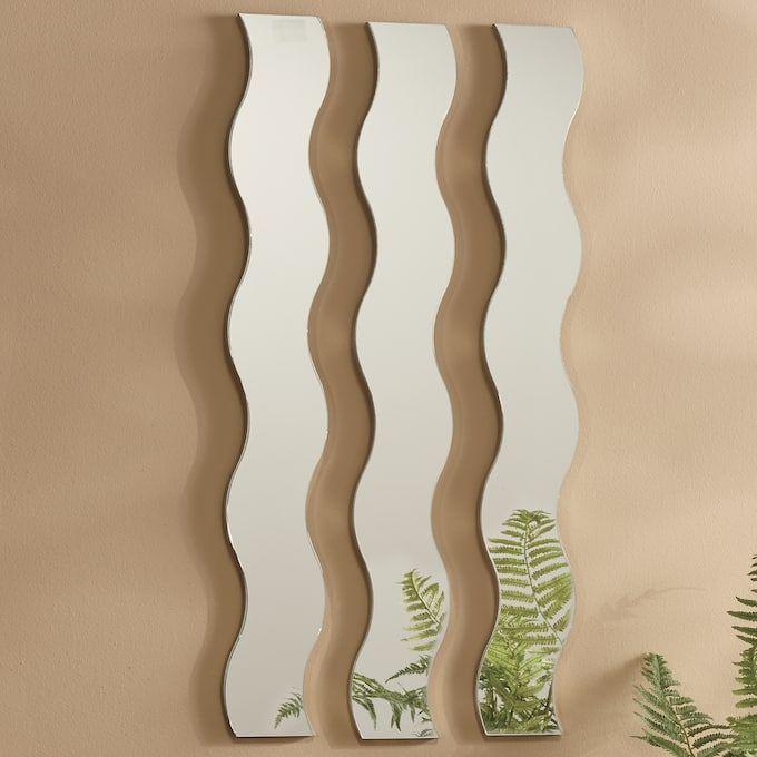 3-Piece Wave Mirror Set in 2020 | Mirror set, Wall shelf ...