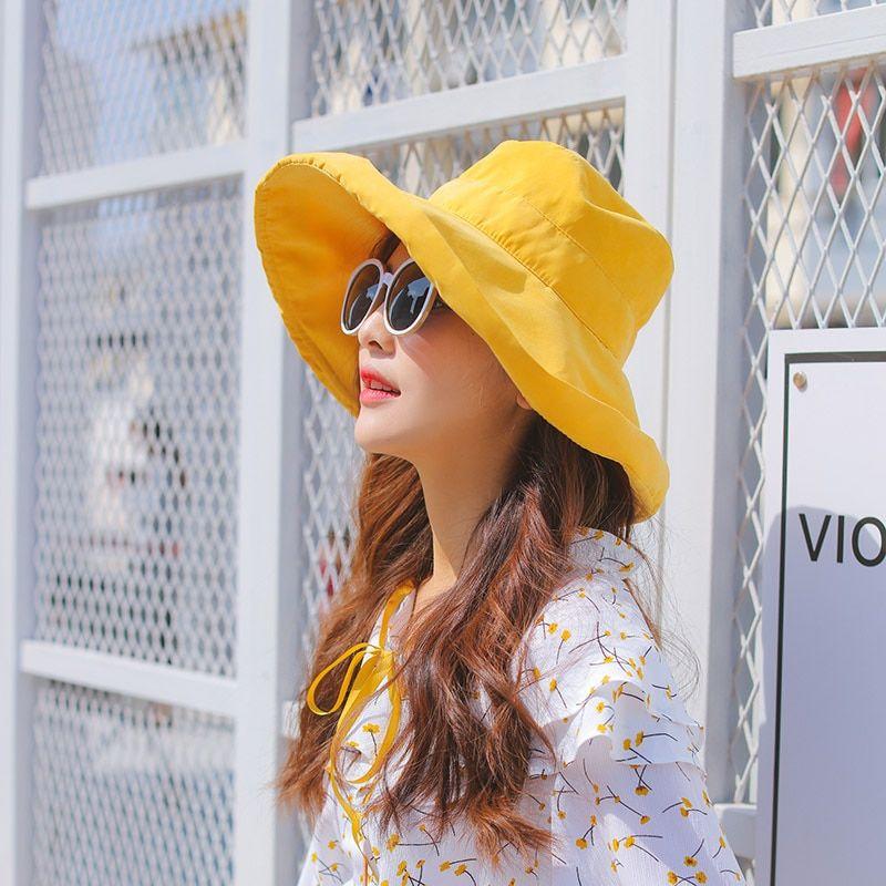 0811435e5d4660 Curly solid color fisherman hat female summer foldable cloth caps lighter woman  big sunshine cap cotton