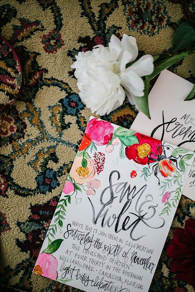 Bright, Bohemian Wedding // Watercolor Invitations and photography ...