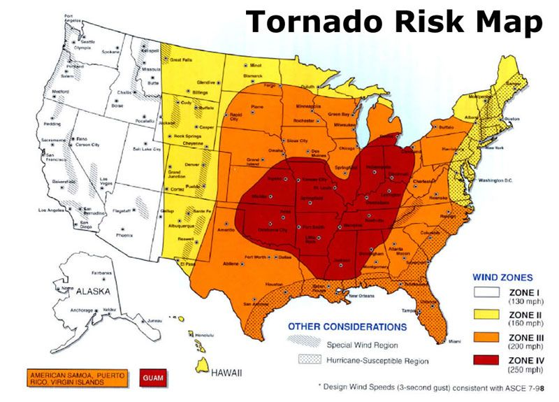 Tornado Risk Map Razred Pinterest Tornado Season And - Akron on us map