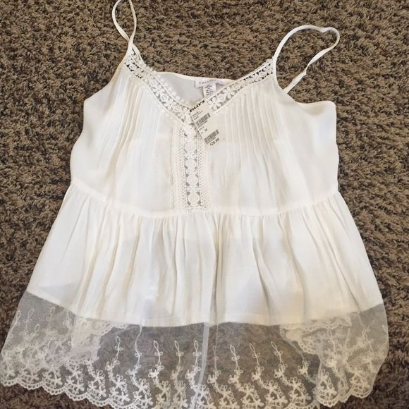 White tank top BRAND NEW Lace, layered shoe tank top Full Tilt Tops Tank Tops