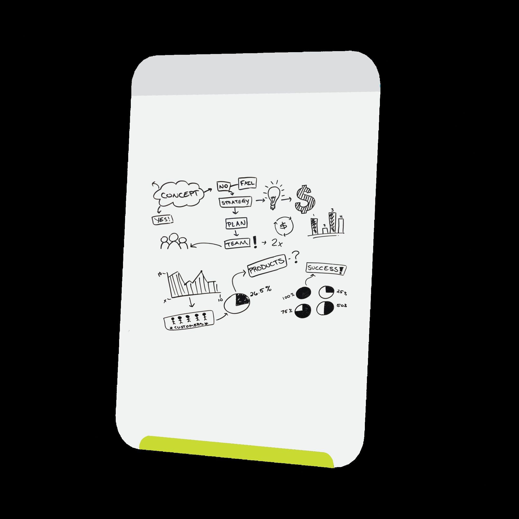 Link Portable Wall Mounted Magnetic Whiteboard