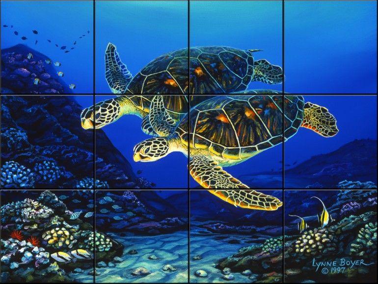 Green Sea Turtle Tile Mural Pacifica Tile Art Studio
