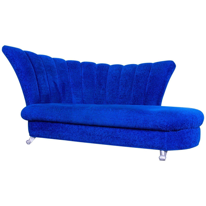 Bretz Designer Sofa Fabric Blue Two Seat Couch Chaise Longue Sofa Design Fabric Sofa Chaise Longue