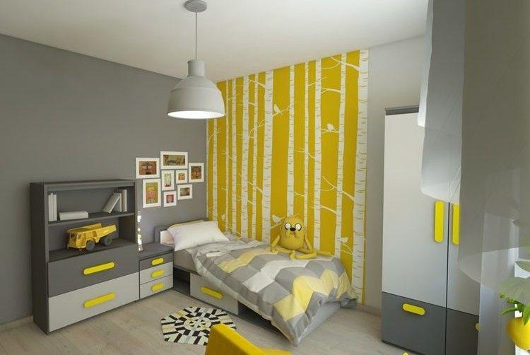 kinderzimmer in grau und gelb - tapete mit birkenmotiv ... - Kinderzimmer Wandgestaltung Ideen Farbe Tapete
