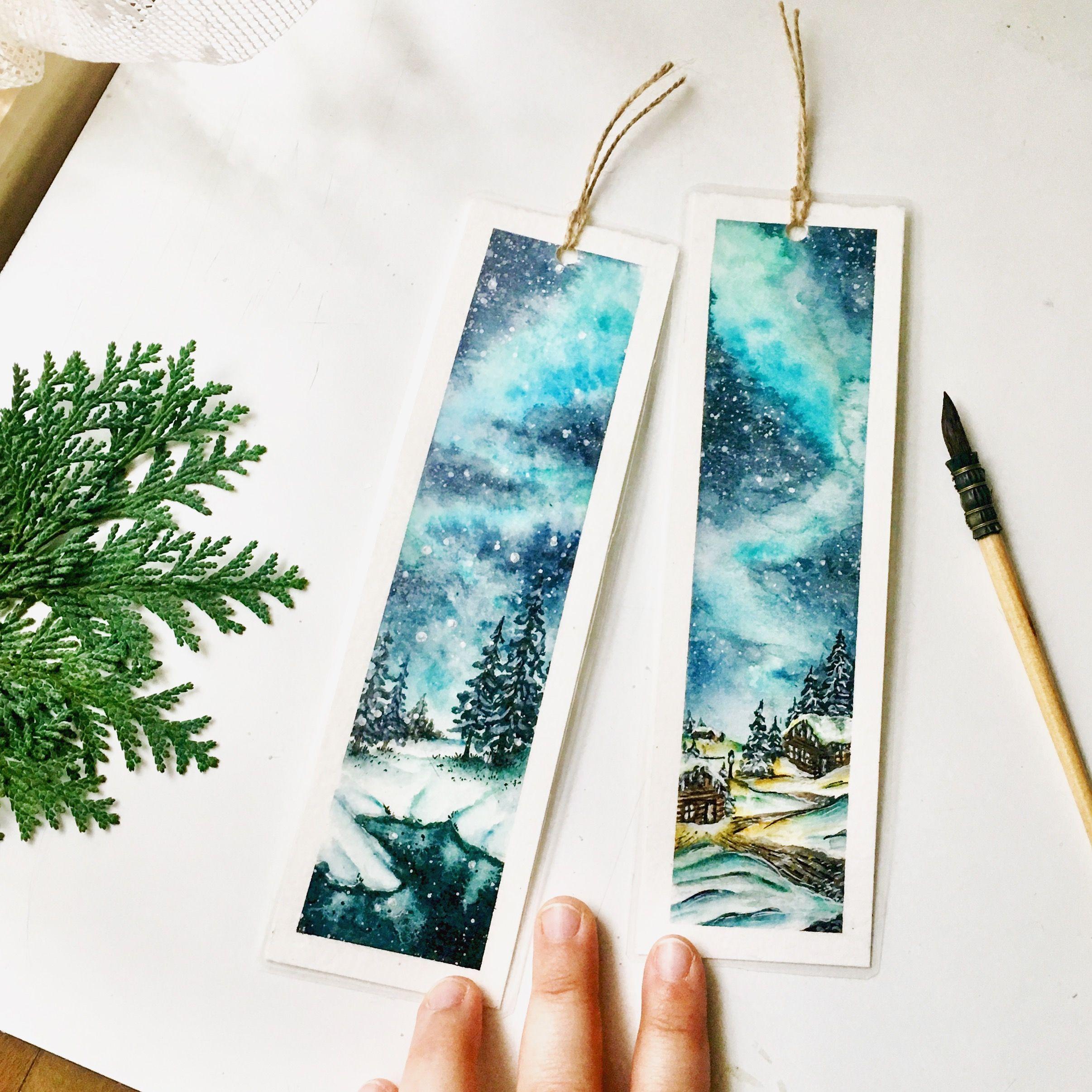 Winterwonderland Bookmarks Watercolor Art Watercolor