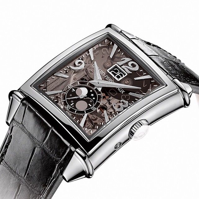 The new Girard-Perregaux Vintage 1945 Large Date, Moon-Phases watch fully reveals the complexity of its movement for the first time, thanks to a transparent dial carved in sapphire. #wotd #watches #watchgeek #watchnerd #watchporn #reloj #relogios #timepieces #uhren  #orologi #artdeco #swissmade #dresswatch #horology #horlogerie #hautehorlogerie #luxury #luxurywatches #craftsmanship #montre #menstyle #moonphases