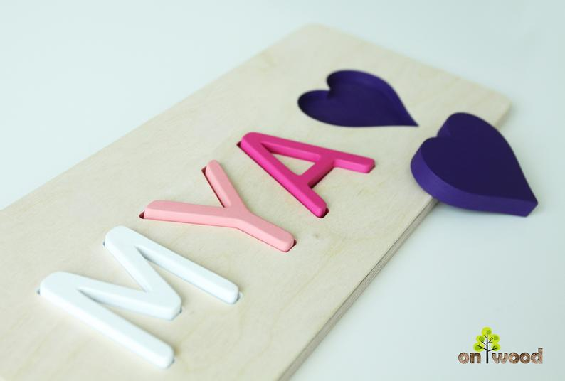 standing wooden letters Personalized wooden name puzzle 1st birthday gift for girl boy Custom unsual gift Christmas Kids gifts Wedding gift