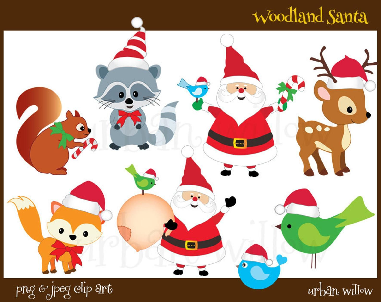 Woodland Clipart Santa Clipart Cute Santa Clipart Christmas Etsy Clip Art Woodland Clipart Fox Christmas