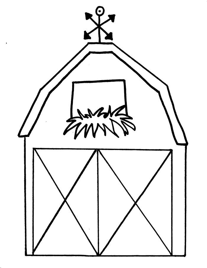 Free printable barn templates barn coloring pages this for Barn animals coloring pages