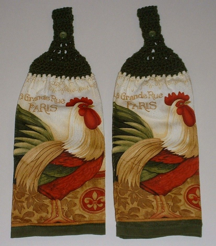 2 Rooster Chicken Hanging Crochet Top Dish Towel Kitchen