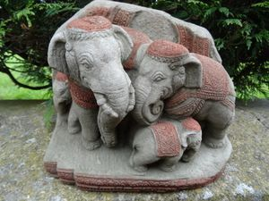 Vintage Sub Continent Indian Stone Elephant Family Charm Blessing Garden  Statue
