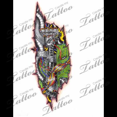 marketplace tattoo cyber biomech circuit board ripped skin tattoo 3961. Black Bedroom Furniture Sets. Home Design Ideas