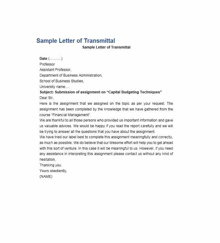 Letter Of Transmittal Template - The letter usually is composed of ...