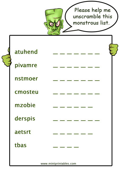 frankenstein worksheets for kids try these word games - Halloween Word Game