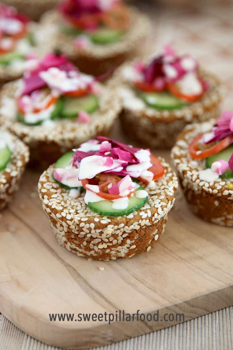 Baked Falafel Cupcakes with Pickled Vegetables & Tahini Yogurt Drizzle The MOST delicious and adorable way to eat baked Falafel Cupcakes with Pickled Vegetables & Tahini Yogurt Drizzle!!