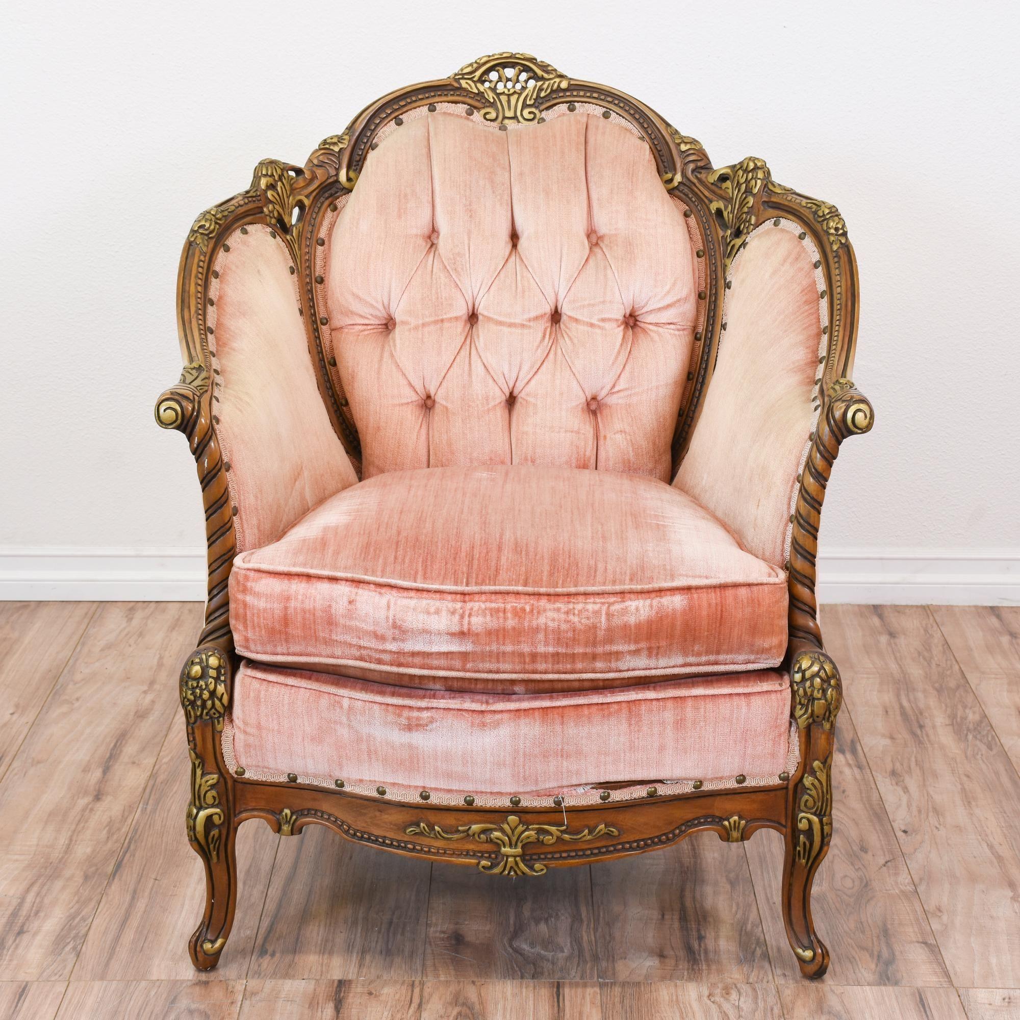 Antique velvet chair -  Chateau Chambord Rococo Pink Velvet Armchair